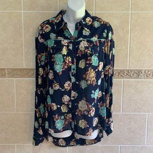 Xhilaration navy floral western button down shirt